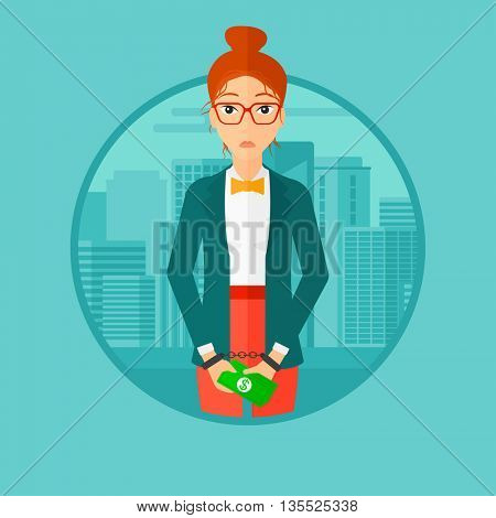 A business woman in handcuffs with money in hands on the background of modern city. Vector flat design illustration in the circle isolated on background.