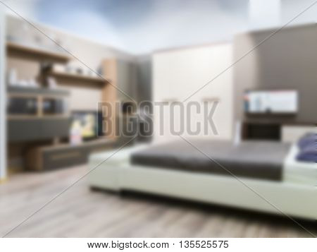 Abstract blur interior of modern comfortable hotel bedroom. Blurred bedroom with white bed