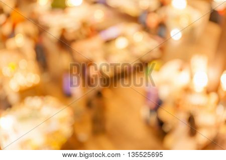 Blurred bokeh of department store from top view.