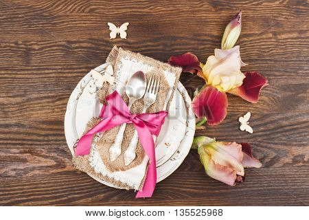 Tableware And Silverware With Irises