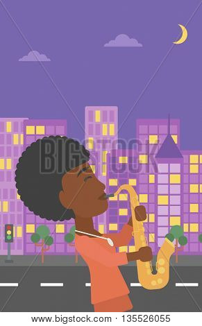 An african-american musician playing saxophone on a night city background vector flat design illustration. Vertical layout.