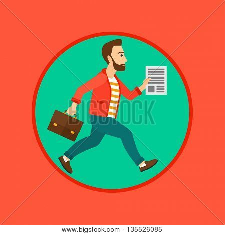 A hipster businessman with the beard running with a briefcase and a document in hands. Concept of stress in business. Business vector flat design illustration in the circle isolated on background.