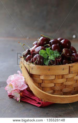 Natural organic berries cherries in a basket