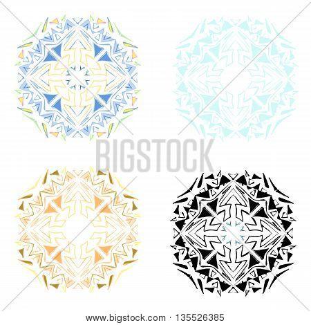 Set of ethnic ornamental mandalas isolated objects on white