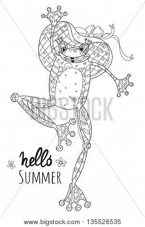 Cute Frog Girl in fashion hat.Vector illustration zen art isolated ready for coloring book.