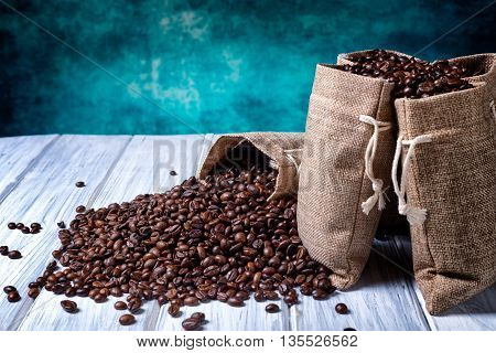 Jute Bags Filled With Coffee Beans