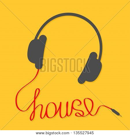Black headphones with red cord in shape of word house. Music card. Flat design icon Yellow background. Vector illustration