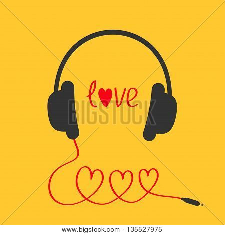 Headphones and red cord in shape of three hearts. Word love. Flat design icon. Yellow background Vector illustration