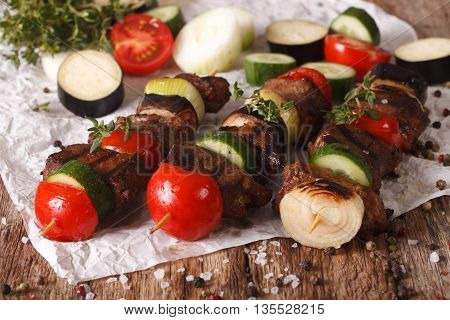 Delicious Kebab With Vegetables On Skewers Close-up. Horizontal