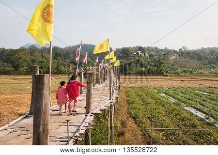 Su Tong Pe bridge beautiful bamboo bridge in Mae Hong Son province Thailand.