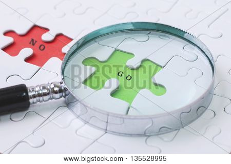 GO and NO puzzle with magnifier glass