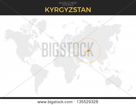 Kyrgyzstan or Kirghizia location modern detailed vector map. All world countries without names. Vector template of beautiful flat grayscale map design with Kyrgyz Republic border location
