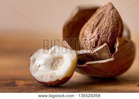 hazelnut in nutshell on wood dried food