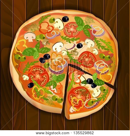 Pizza with mushroom and tomato, basil and olives pizza with a slice on wooden board isolated. Vector illustration stock vector.