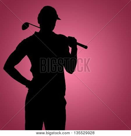 Pretty blonde playing golf against red vignette