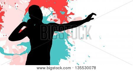 Front view of sportswoman practicing shot put against different black silhouette