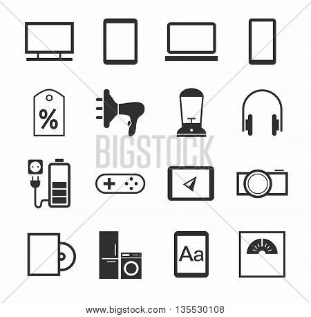Vector icons of home appliances, gadgets, and accessories. Monochrome, flat pictures on a white background.