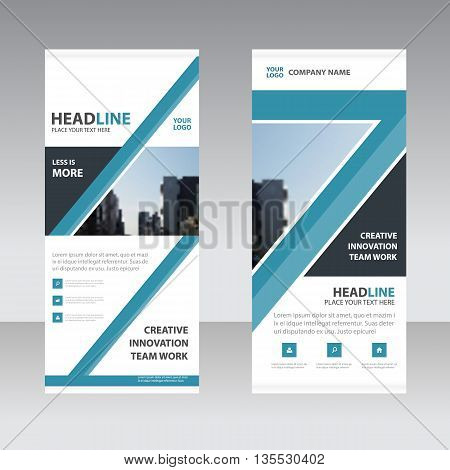 Blue Abstract Business Roll Up Banner flat design template Abstract Geometric banner template Vector illustration set abstract presentation template