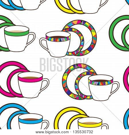 Nice pattern with colorful, mosaic  cup and plates on white background
