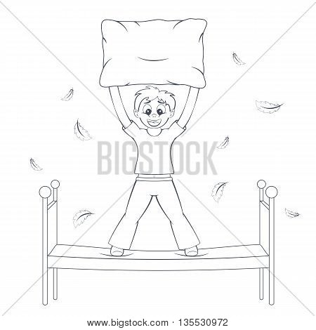 Bedtime in action. Boy starts pillow fight. Feathers fly around bed. Child with cushion in arms. Cartoon style vector illustration