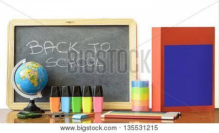 back to school on blackboard concept with stationery