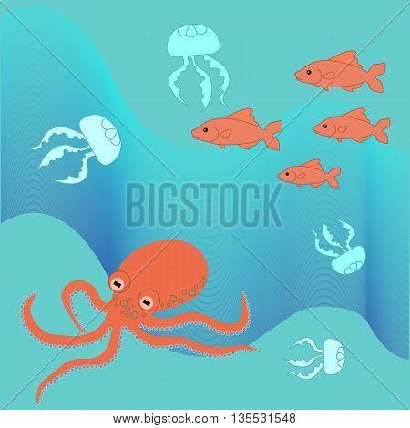 Cute illustration of sea and marine life: octopus, jellyfish, fish.