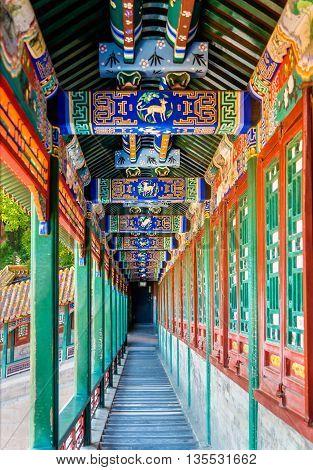 Corridor in the Summer Palace in Beijing, China