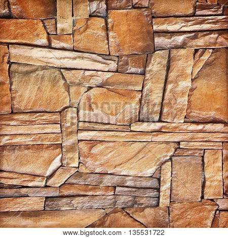 modern slab slate stone wall background; Brown stone wall background