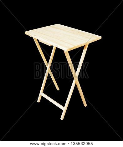 Wooden Folding Table On Black Background, Clipping Path