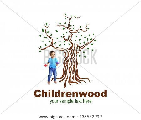 Little boy playing on maracas near drawn tree with text Childrenwood