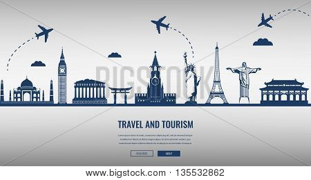 Travel Composition With Famous World Landmarks. Travel And Tourism. Concept Website Template.