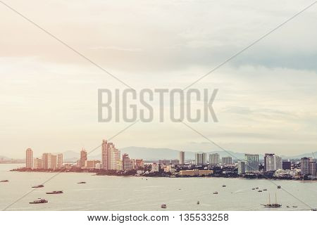 View of Pattaya city from aerial, cityscape in sunrise, vintage tone soft focus