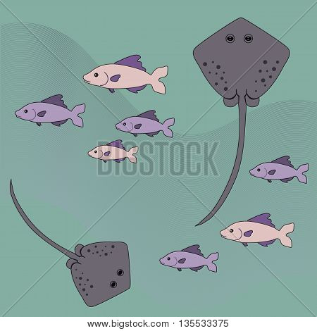 Nice sea picture with stingrays and fish