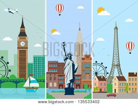 Cities skylines design with landmarks. London Paris and New York cities skylines design with landmarks. Flat landscapes. Vector illustration.