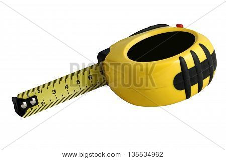 Measuring tape in the yellow body on white. Isolated.