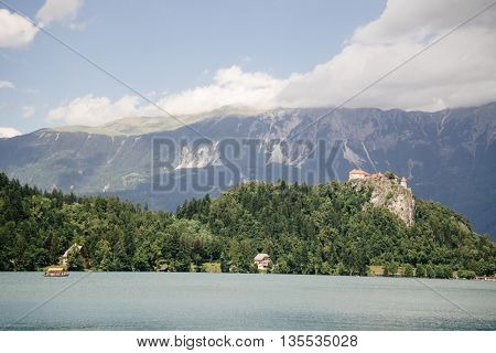 Bled Castle built on top of a cliff overlooking lake Bled, located in Bled, Slovenia.