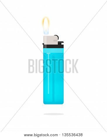 Blue lighter with flame vector icon isolated on white bakcgruond