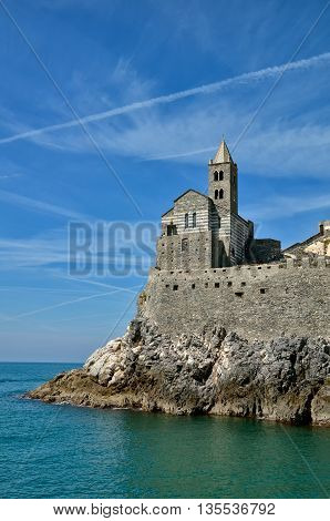 Stone Church of St. Peter in Porto Venere, Italy. Porto Venere and the villages of Cinque Terre are the UNESCO World Heritage Site.