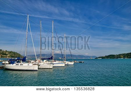 Yacht bay in Portovenere, Italy, Mediteranean sea coast
