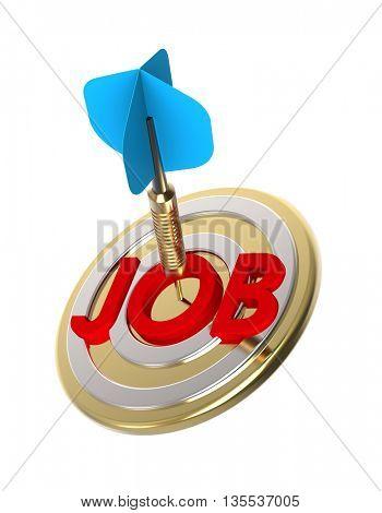 Dart hitting target. Target job search concept. 3D illustration.
