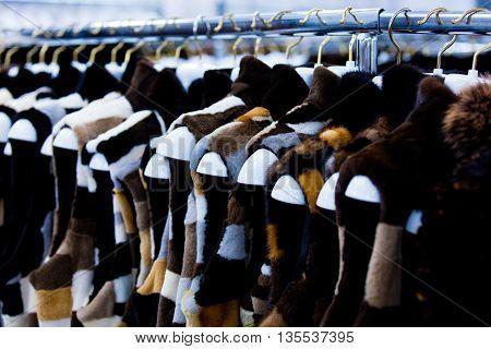 Fur Vests On The Hangers
