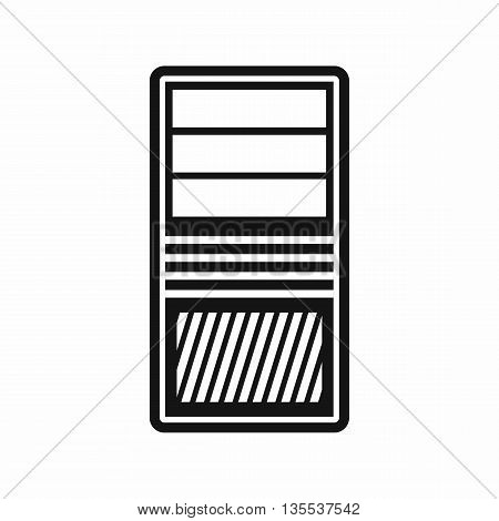 Black computer system unit icon in simple style isolated on white background