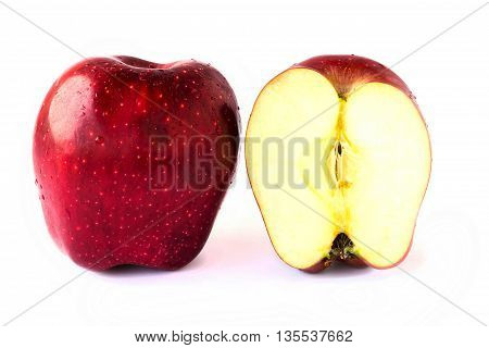 Close up slice fresh red apples on a white background.