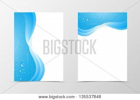 Flyer template design. Abstract flyer template vector illustration in blue color. Blue flyer design