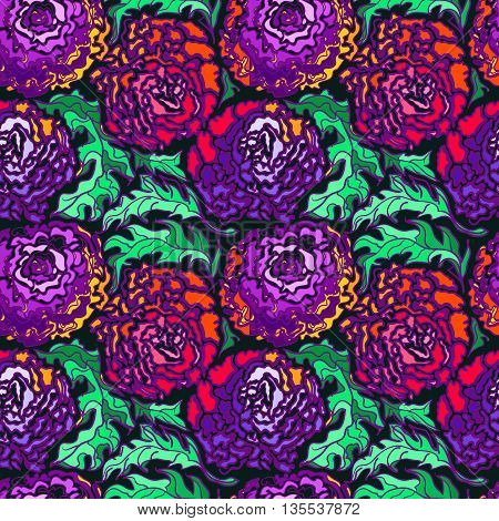 Colorful seamless backgroung with flowers peony. Modern illustration. Can be used for wallpaper pattern fills web page surface textures textile print wrapping paper.