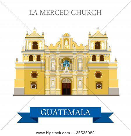 La Merced Church Antigua in Guatemala flat vector illustration
