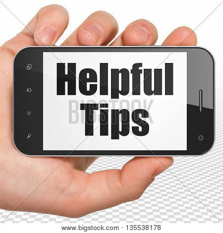Studying concept: Hand Holding Smartphone with black text Helpful Tips on display, 3D rendering
