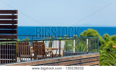 a photo of deck-chairs is in Greece