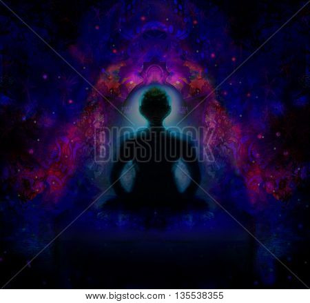 man silhouette meditation in position yoga on abstract background , raster