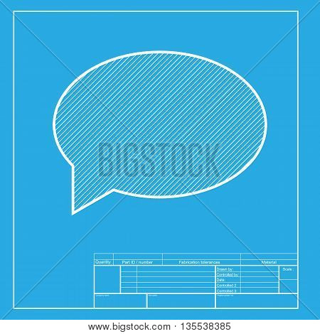 Speech bubble icon. White section of icon on blueprint template.